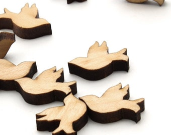 Wedding Dove Mini Charms - Itsies - With Holes or Without -  Timber Green Woods Sustainable Wood Products - Bird Charms Made in the USA