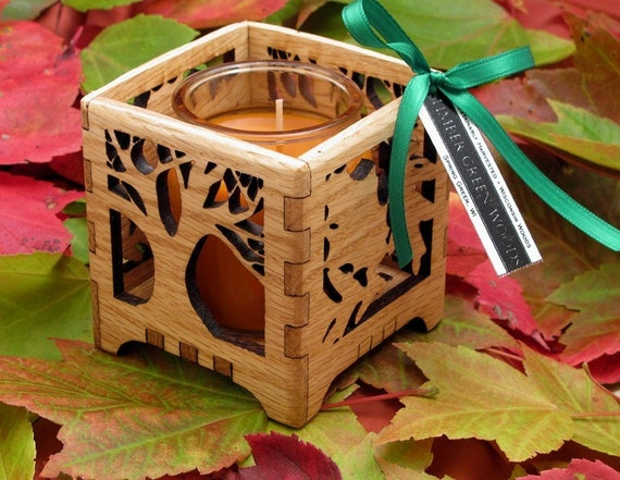 Rustic Autumn Tree - Oak Wood Votive Candle Holder