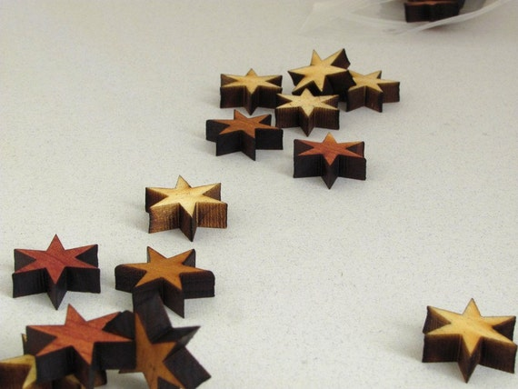 """Laser Cut Mini Wooden Stars  Itsies - 1/2"""" Six Point Star Charms by Timber Green Woods"""