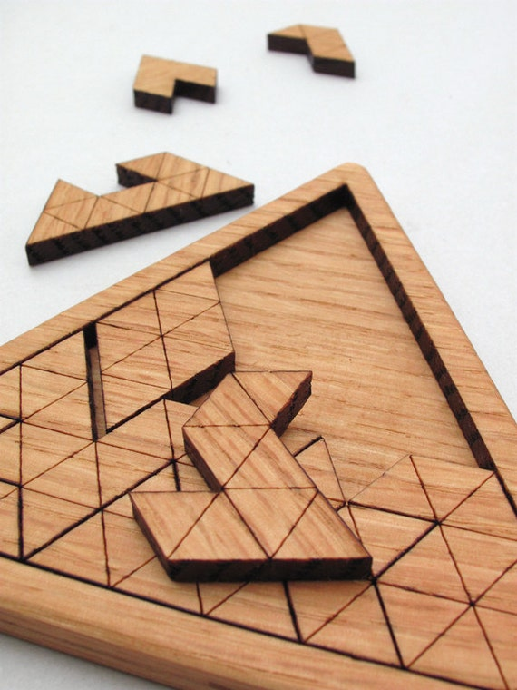 Wooden Triangles Geometric Puzzle Red Oak Laser Cut Wood Jig