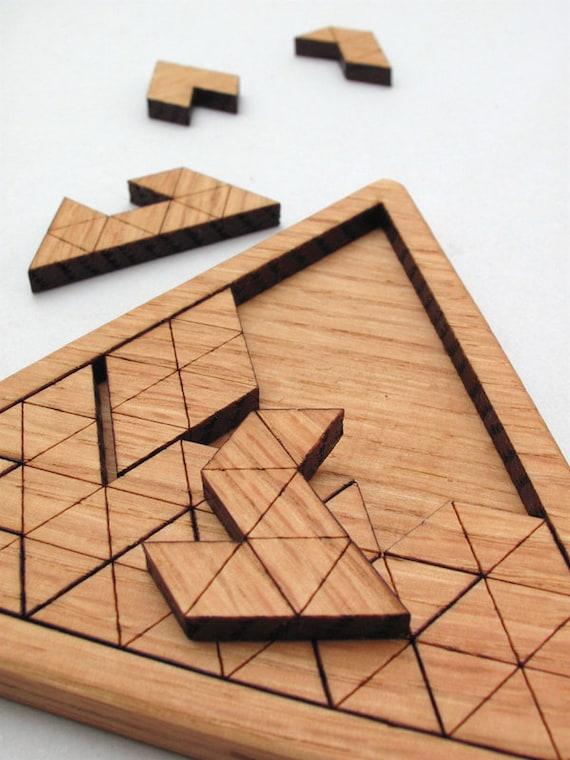 Wooden Triangles Geometric Puzzle Red Oak Laser Cut Wood Jig