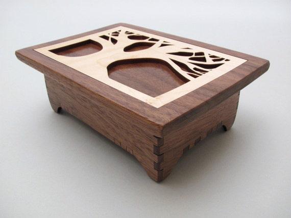 tree of life keepsake box in black walnut wood by timbergreenwoods. Black Bedroom Furniture Sets. Home Design Ideas