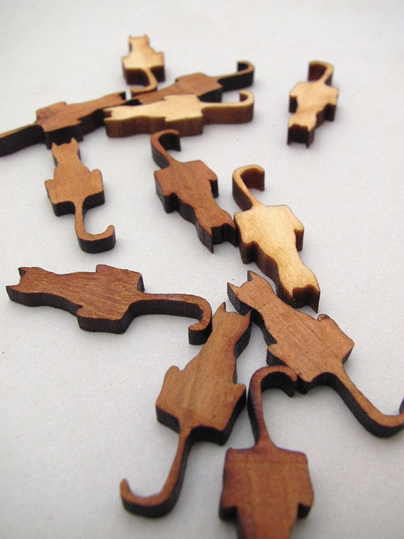 Mini Cat Charms - Laser Cut Mini Wood Cats   Timber Green Woods Sustainable Forestry Products