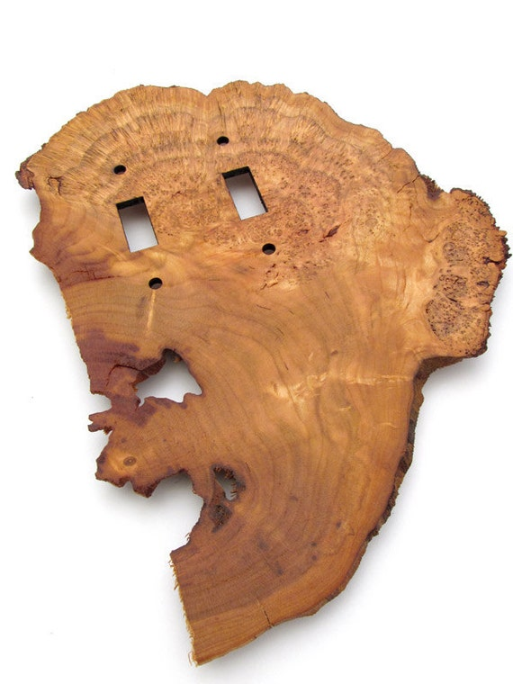 Cherry Burl Live Edge Double Light Switch Plates - Sustainable Harvest Wood . OOAK - TagT Team . Timber Green Woods