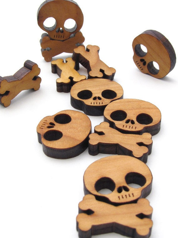 Halloween Mini Skull and Cross Bones Charms - Itsies - Laser Cut Wood Skull and Bones - . Timber Green Woods