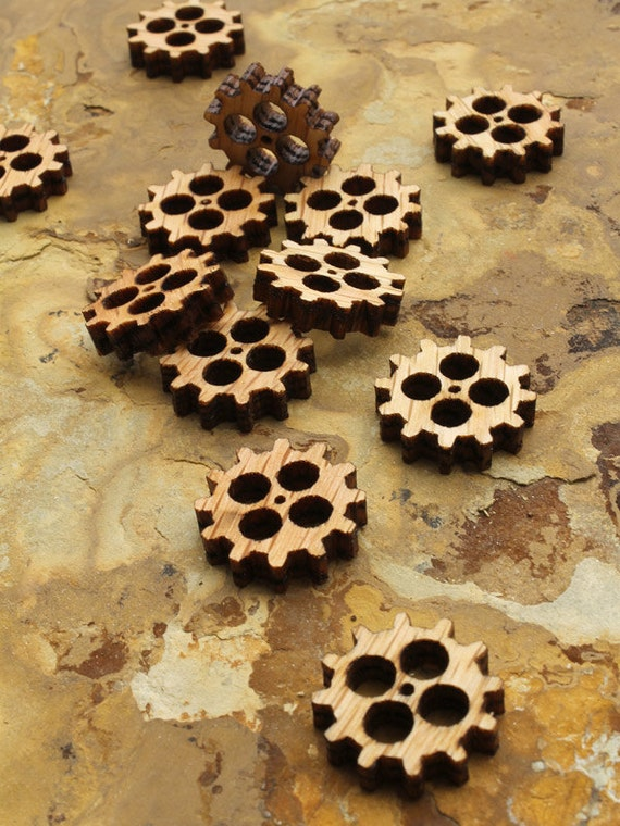 "Mini Wooden Steampunk Clock Gears Itsies 3/4"" with Four Cutouts - Charms by Timber Green Woods"