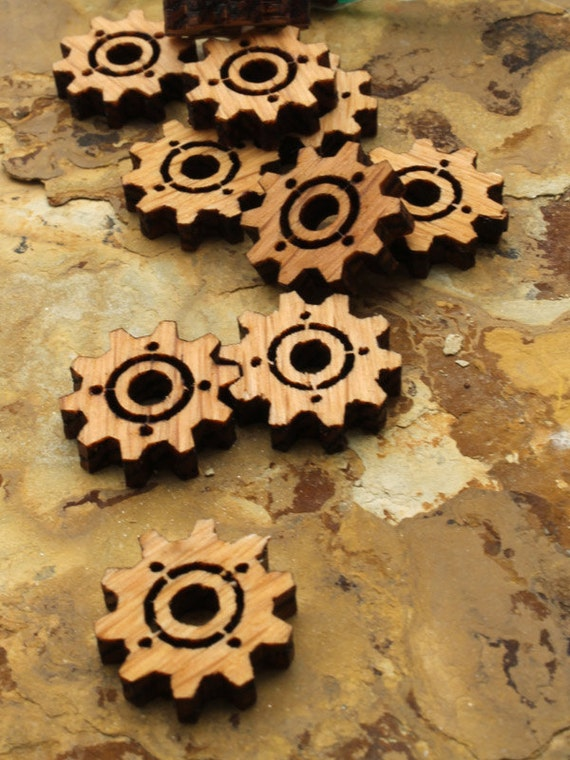 Wood Clock Gear Beads Steampunk Minis -  Itsies - Oak Wood Charms by Timber Green Woods