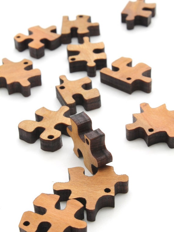 Mini Puzzle Piece Beads - Laser Cut Wood - Etsy Itsies by Timber Green Woods