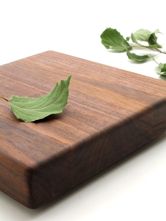 """Black Walnut Cutting Board and Chopping Block - Square """"Chocolate Slab"""" - Sustainable Harvest Wisconsin Wood"""