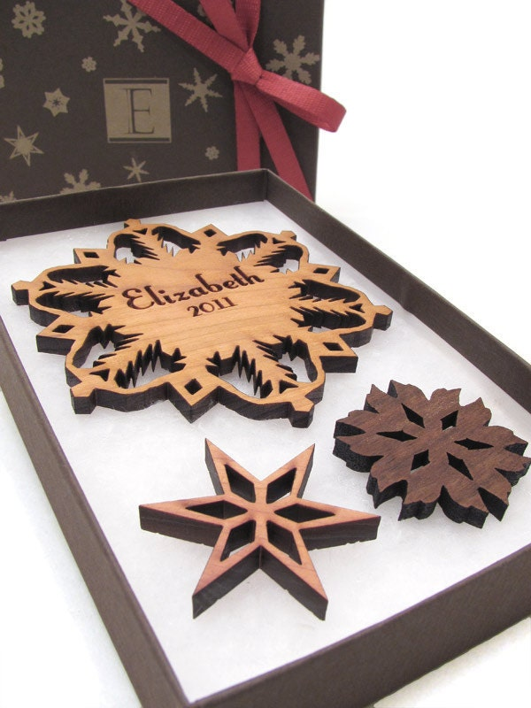 Personalized christmas ornament wood snowflake gift