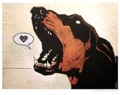 Doberman Pinscher - 5x7 Art Print - Love (Bark) - Dog