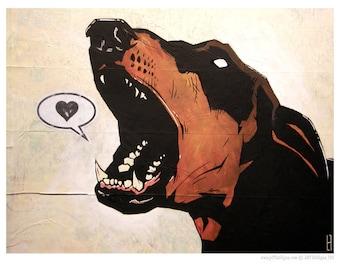 Doberman Pinscher - 5x7 Art Print - Love (Bark) - Dog