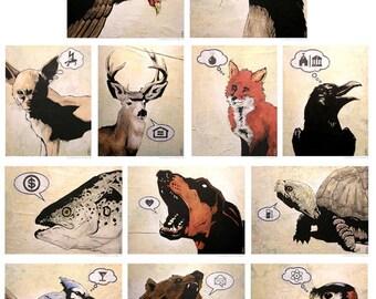 Animal Perspective Print Set of Six (6)