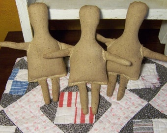 1 small Primitive cloth osnaburg Rag Doll Body Lot-forms-Folk Art dolls-blank-doll supplies