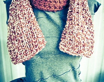 Brown & Salmon Hand Knit Scarf, color block, mottled, cowl - Made by Memere