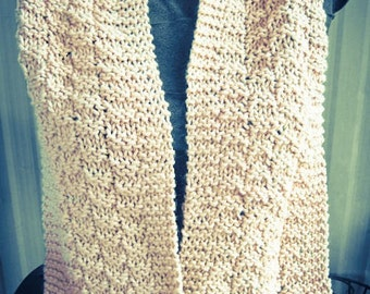 Beige Hand Knit Scarf, shawl, cowl, soft - Made by Memere