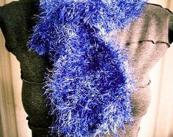 Indigo Blue Fun Fur Hand Knit Neck Ruffle, fuzzy, soft, cowl - Made by Memere