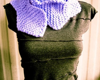 Purple Wavy Hand Knit Long Scarf, cowl, geometric, soft - Made by Memere
