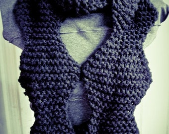 Black Wavy Hand Knit Long Scarf, cowl, geometric, soft - Made by Memere