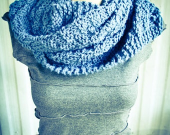 Navy Blue Hand Knit Scarf, winter, warm, neck cowl - Made by Memere