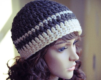 Crocheted Beanie Hat, Mottled Brown, Off White, Chunky, Warm, Crochet, Unisex - Made by Kim