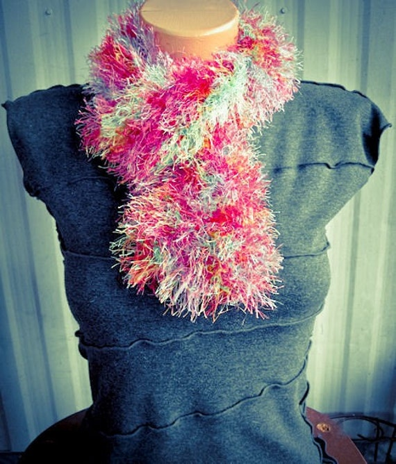 Rainbow Fun Fur Hand Knit Neck Ruffle, fuzzy, cowl, soft - Made by Memere