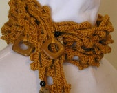 Saffron Goldenrod Deconstructed Wool Lariat Scarf with Stone Beads - honeybeebungalow