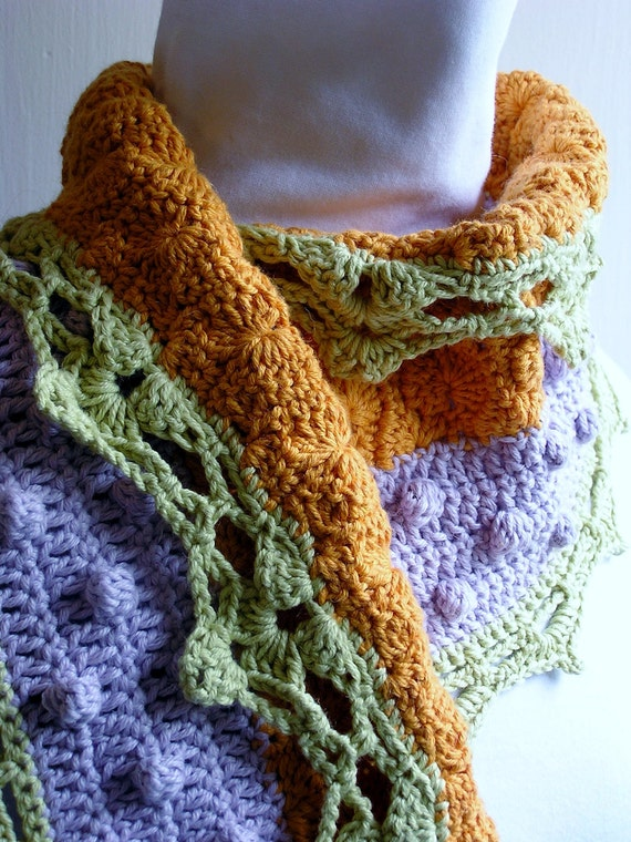 Cantelope Lime and Lavendar Sherbert Handcrocheted Scarf with Lace Edging