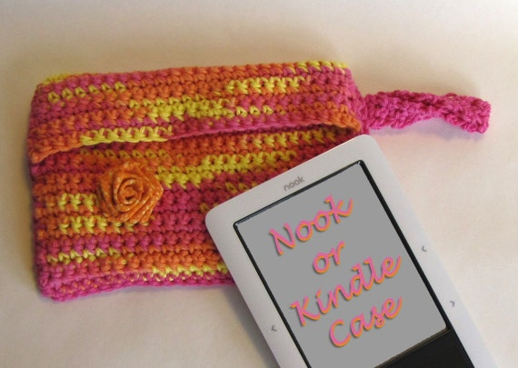 REDUCED for CLEARANCE SALE / Pink and Orange Kindle or Nook e-reader Case