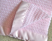Special - Baby Blanket - pink - Crochet Knit Heirloom - Ready To Ship