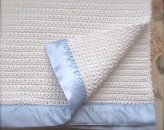 Crocheted Baby Blanket - White with Light Blue Satin Binding
