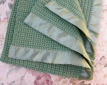Baby Blanket - Sage Green - Warm & Soft - Crochet Knit Heirloom - Handmade- Ready to Ship