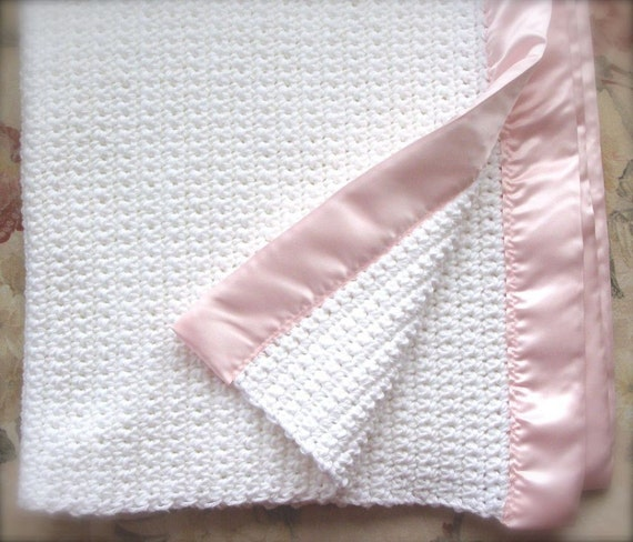 Crocheted Baby Girl Blanket - White with Pink Satin Binding - Ready To Ship