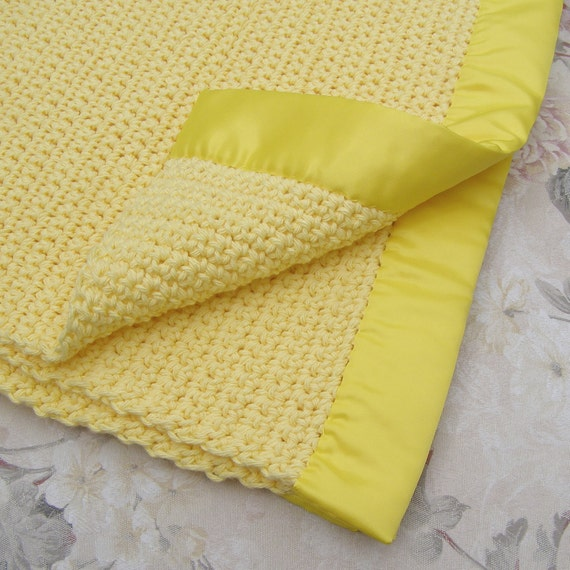 Items similar to Crochet Baby Blanket - Yellow Receiving ...