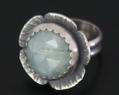 Chunky Aquamarine and Sterling Silver Cocktail Ring
