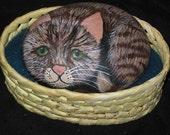 Painted Rock Kitten in a Basket