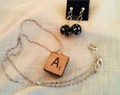 Scrabble Necklace and round earring set