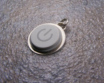 Power Up - Recycled MAC Power Button - Pendant charm Only - Handmade in Sterling Silver, birthday, wedding, anniversary, gift