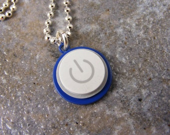 Power Up Color- Recycled MAC Power Button Necklace -  Blue Enamel and Sterling Silver Plated Chain