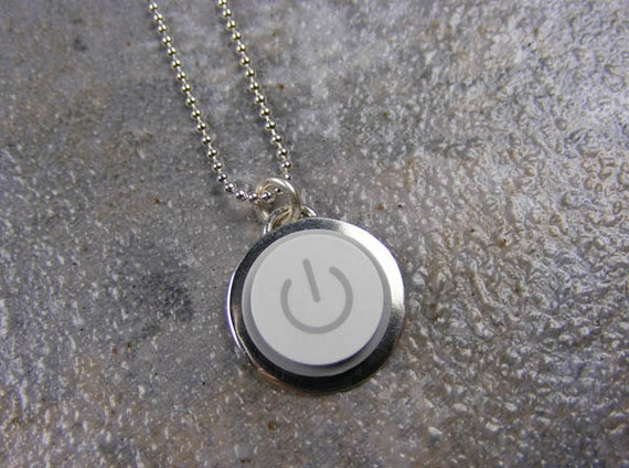 Power Up Necklace - Sterling Silver Handmade Recycled MAC Apple Power Button Necklace
