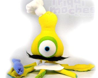 Halton OOAK SPECIAL Kalamako . a cool yellow squid . plush sea monster. Chef. cook. cooking.