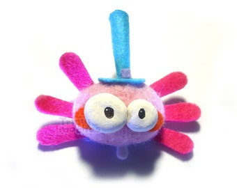 Mona pink Triquiwiki. cute Peludita spider . Bug brooch
