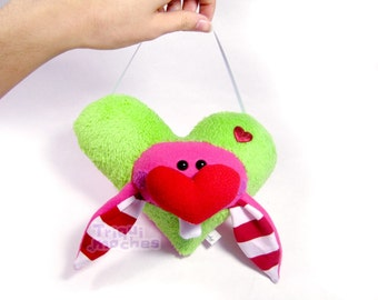 Billy. Animaliko heart mobile. green red cute heart rabbit. special St Valentine's Day