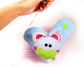 Cathy. Animaliko heart mobile. blue green cute heart cat. special St Valentine's Day