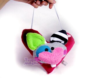 Elliot. Animaliko heart mobile. multicolor cute heart cat. special St Valentine's Day