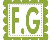 Scallop Square Olive Wood Monogram Stamp