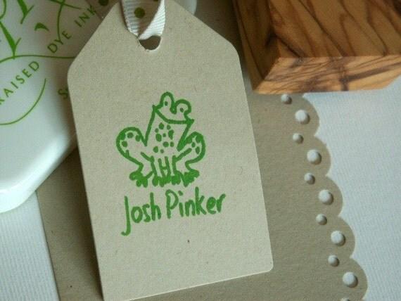 Custom  Cheeky Little Frog Olive Wood Stamp