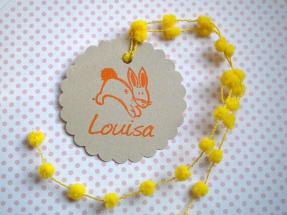 Hopping Bunny Custom Olive Wood Stamp
