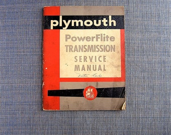 Vintage PLYMOUTH 1954 Transmission Car Manual - 1954 Powerflite transmission - Dodge Plymouth Mopar Reference - 1950s Auto Cool