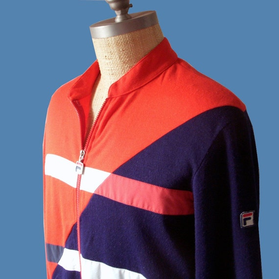 80s FILA sweat jacket track jacket red white blue stripes wool jersey collectible retro chic 1980 1970 made in Italy